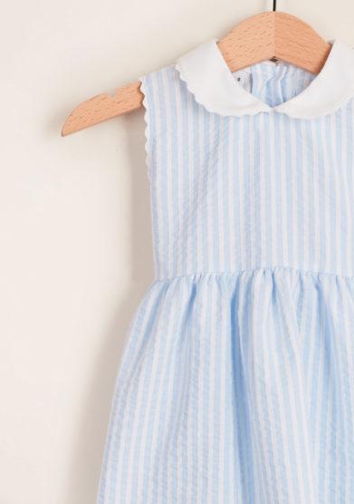 BARONI - Girl's striped cotton dress with trim collar