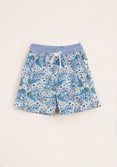 MAGHI E MACI - Boy's cotton blue paisley print swimshorts