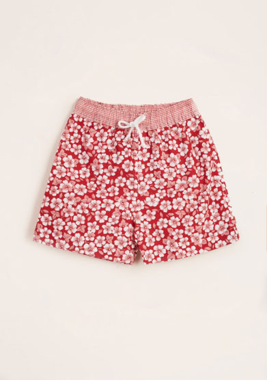 MAGHI E MACI - Boy's red flower print swimshorts