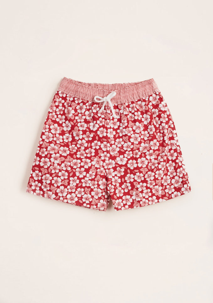 MAGHI E MACI - Boy's red flower print swimshorts