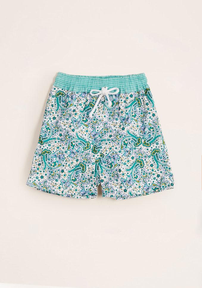 MAGHI E MACI - Boy's cotton green paisley print swimshorts
