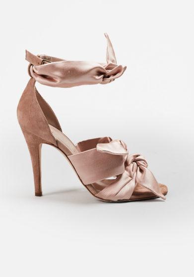 GIA COUTURE - Katia bows sandals in beige silk satin