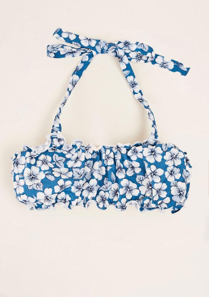 MAGHI E MACI - Girl's cotton blue flower print top
