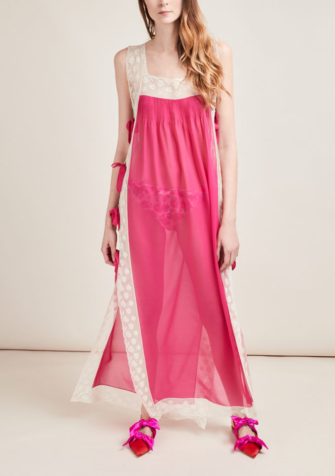 LORETTA CAPONI - Silk georgette nightshirt with lace and bows