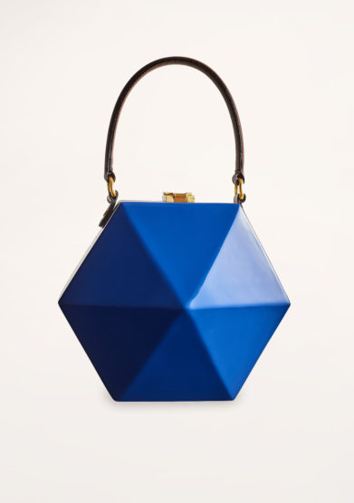 VIRGINIA SEVERINI - Electric blue wooden handbag