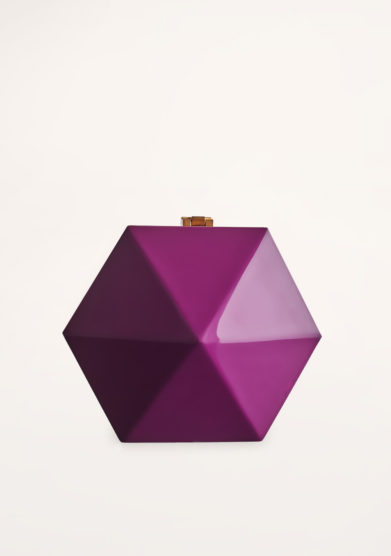 VIRGINIA SEVERINI - Diamante magenta wood clutch