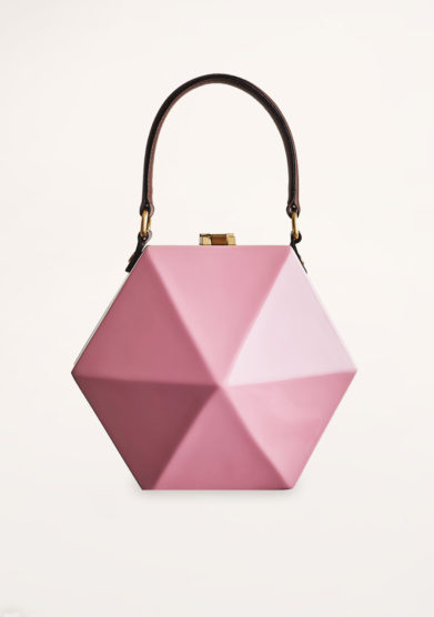 VIRGINIA SEVERINI - Diamante pink wood handbag
