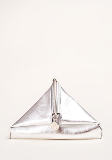 SIMONE RAINER - Silver leather triangular clutch