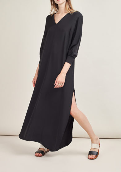 CAFTANII FIRENZE - Celine satin black neckless kaftan dress