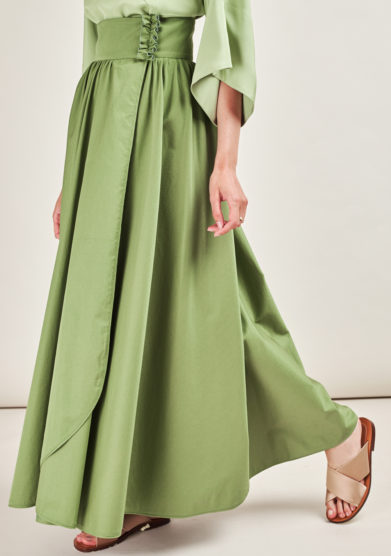 CAFTANII FIRENZE - Kimi green cotton skirt