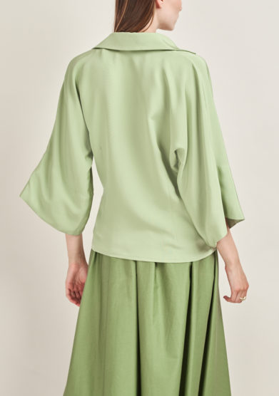 CAFTANII FIRENZE - Celine shirt in green silk