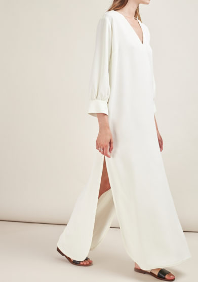 CAFTANII FIRENZE - Celine satin natural white neckless kaftan dress