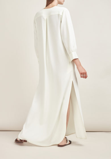 CAFTANII FIRENZE - Celine satin natural white neckless kaftan dress
