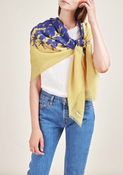 MANTERO 1902 - Yellow Grand Carré in printed silk