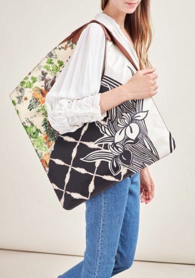MANTERO 1902- The Carré bag in leather and printed silk