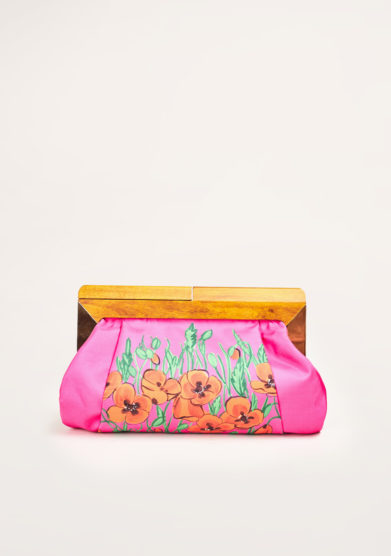 MANTERO 1902- The Club flower-print fuchsia silk clutch