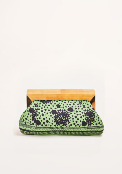 MANTERO 1902 - The Club printed green silk clutch