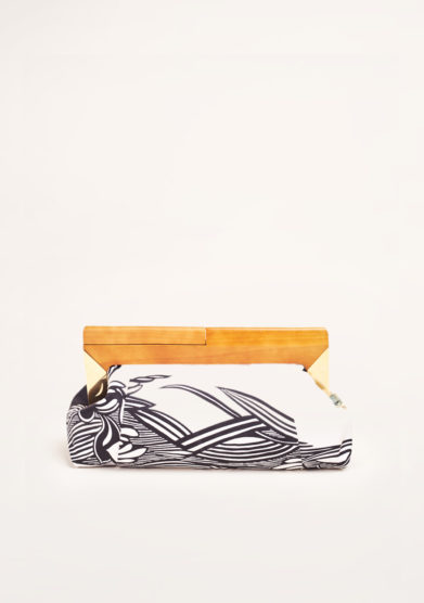 MANTERO 1902 - The Club printed black & white silk clutch
