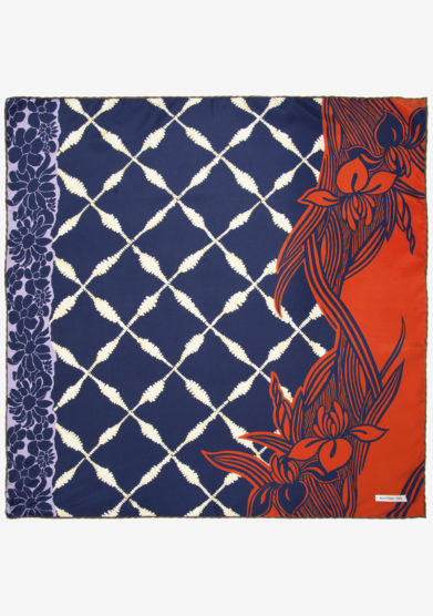 MANTERO 1902 - Foulard Small Carré Black Orchid blu navy