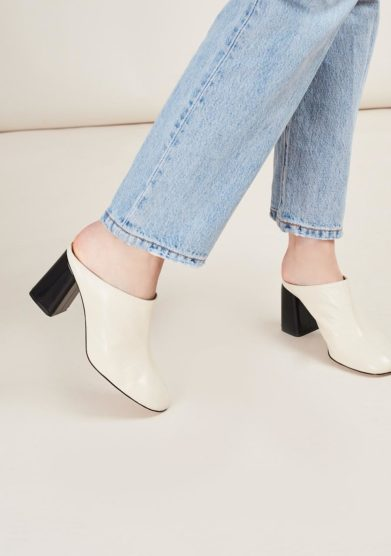 TARCIO - Black and white leather mules