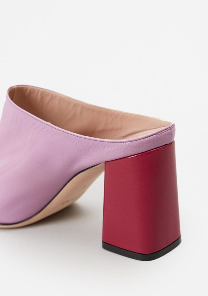 TARCIO - Lilac and cherry leather mules