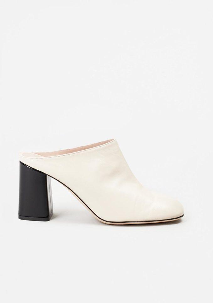 TARCIO - Black and white leather mules