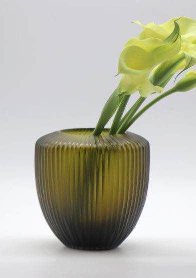 MICHELUZZI GLASS - Large olive green Goccia Vase