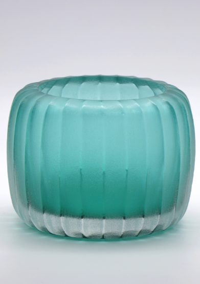 MICHELUZZI GLASS - Acquamarine ribbed Pozzo vase