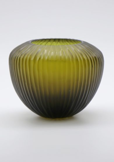 MICHELUZZI GLASS - Medium olive green Goccia Vase