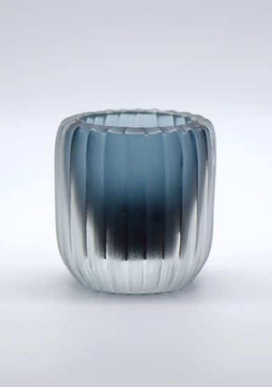 MICHELUZZI GLASS - Ocean blue ribbed Rullo Vase