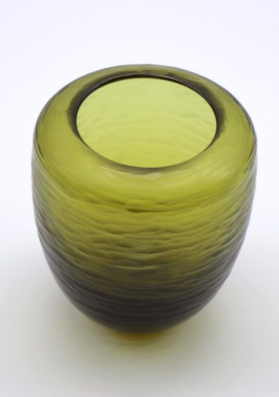 MICHELUZZI GLASS - Small olive green Goccia Vase
