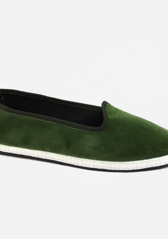 Scarpe basse furlane velluto vibi venezia verdi alga