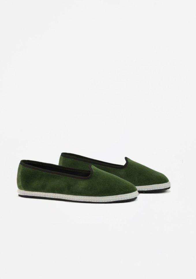 Vibi venezia scarpe furlane velluto verde alga