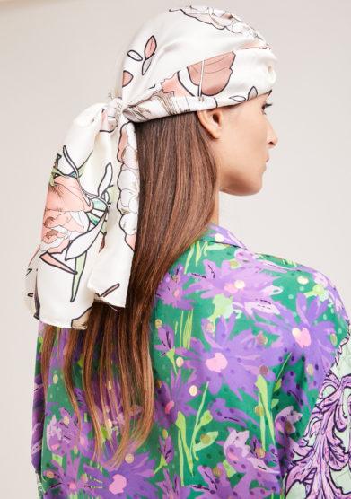 Marzoline turbante in seta stampa floreale panarea