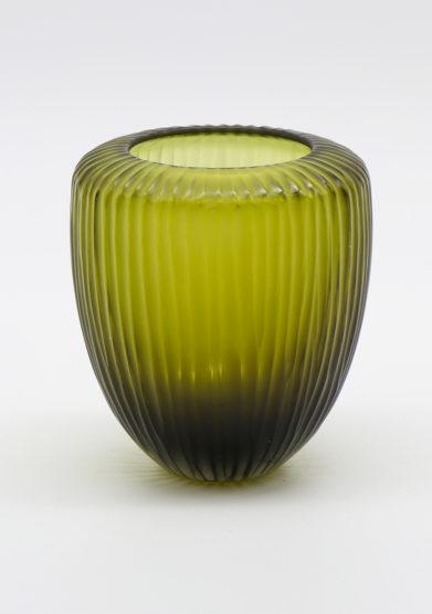 Micheluzzi Glass vaso goccia piccolo murano verde oliva