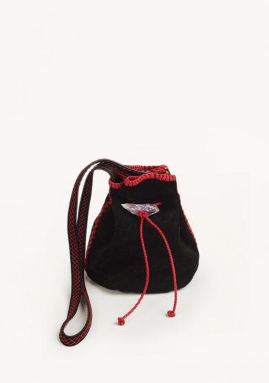 IACOBELLA - Small Nirmala black eclipse bucket bag in suede