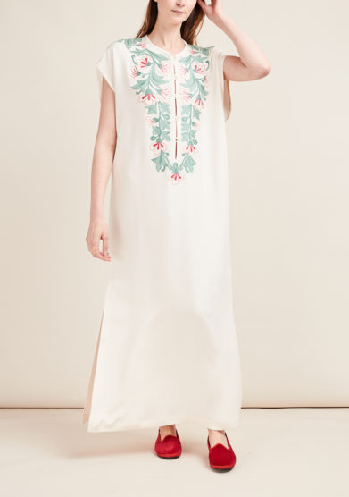 LORETTA CAPONI - Floral embroidery caftan dress