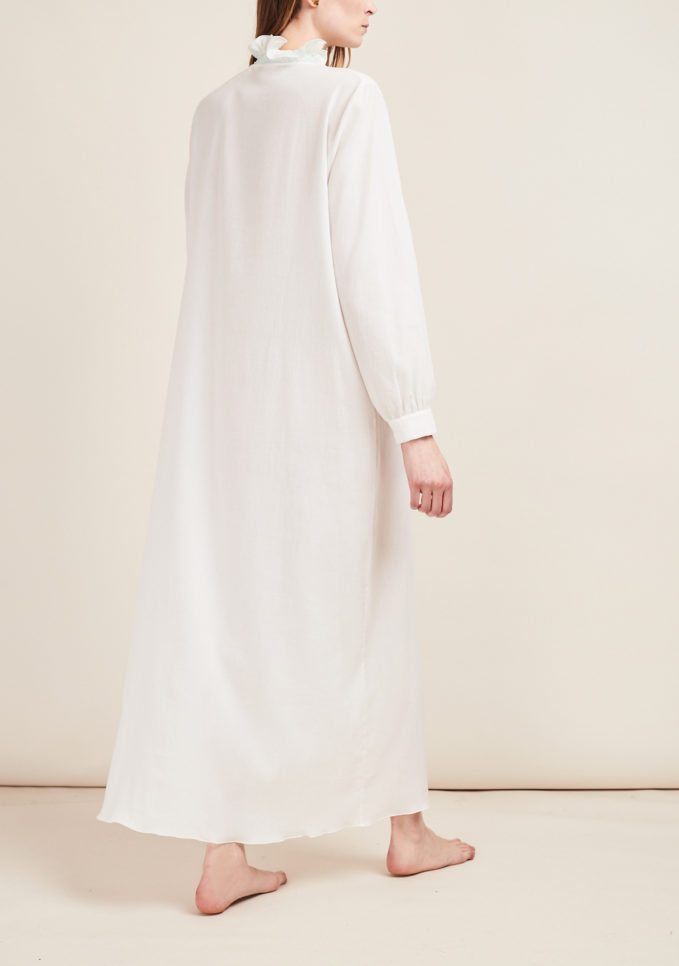 LORETTA CAPONI - Long sleeve nightshirt with ruffles