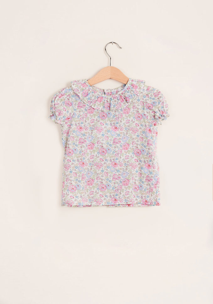 BARONI - Pink cotton liberty blouse