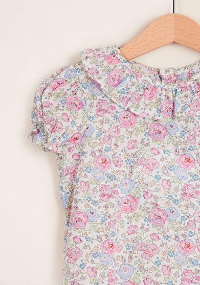 BARONI - Pink cotton liberty blouse