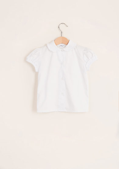BARONI - Girl's shirt with scalopp-trim collar