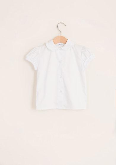 BARONI - Girl's shirt with scalopp-trim collar