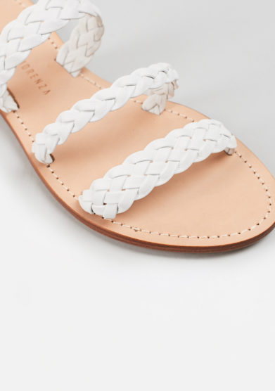 PAOLA FIORENZA - Braided sandals in white leather