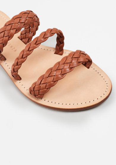 PAOLA FIORENZA - Braided sandals in light brown leather