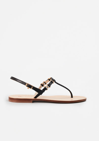 PAOLA FIORENZA - Black leather sandals