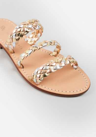 PAOLA FIORENZA - Braided sandals in metallic leather