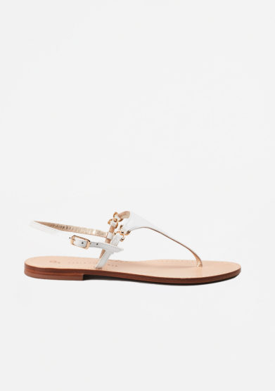 PAOLA FIORENZA - White leather sandals in triangle shape