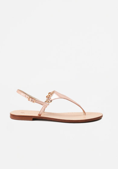 PAOLA FIORENZA - Copper leather sandals in triangle shape