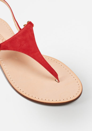 PAOLA FIORENZA - Red suede sandals in triangle shape