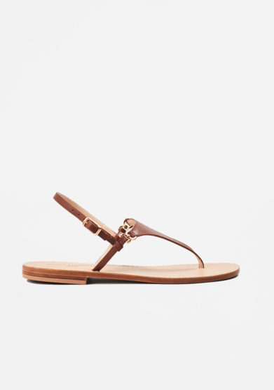 PAOLA FIORENZA - Brown leather sandals in triangle shape